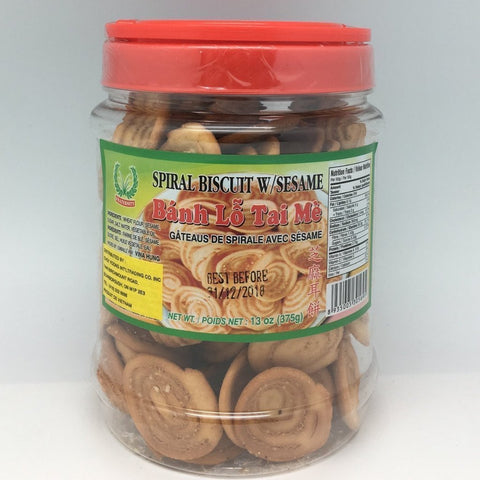 C012SL Fraternity Brand - Spiral Cookies with Sesame 375g - 12 bot/1ctn - New Eastland Pty Ltd - Asian food wholesalers