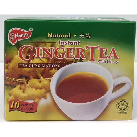 I008H Happy Brand - Instant Ginger Tea 10x18g - 24 box / 1 CTN - New Eastland Pty Ltd - Asian food wholesalers