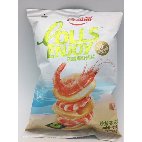 J067BW COLLS Enjoy - (Wasabi) Prawn Chips 30g - 20 bags  / 1 CTN - New Eastland Pty Ltd - Asian food wholesalers