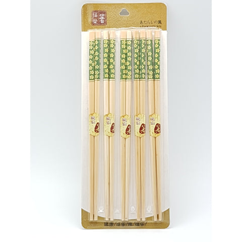 KI060-6 - Bamboo Chopsticks Light Green Flower Designs 5 Pieces 100 packets  / 1 Box - New Eastland Pty Ltd - Asian food wholesalers