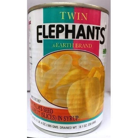 T007S Twin Elephants & Earth Brand -Palm seed Jackfruit Slice in Syrup 565g - 24 tin / 1 CTN - New Eastland Pty Ltd - Asian food wholesalers