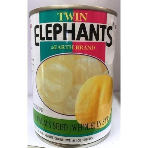 T007W Twin Elephants & Earth Brand -Palm seed Jackfruit (Whole) in Syrup 565g - 24 tin / 1 CTN - New Eastland Pty Ltd - Asian food wholesalers