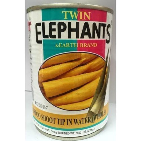 T018S Twin Elephants & Earth Brand -Bamboo Shoot Tips in Water (Whole) 227g - 24 tin / 1 CTN - New Eastland Pty Ltd - Asian food wholesalers