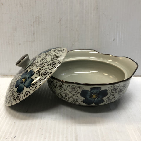 TB1051 - Green Ceramics with Blue Flower Bowl with Lid 5.5' - New Eastland Pty Ltd - Asian food wholesalers