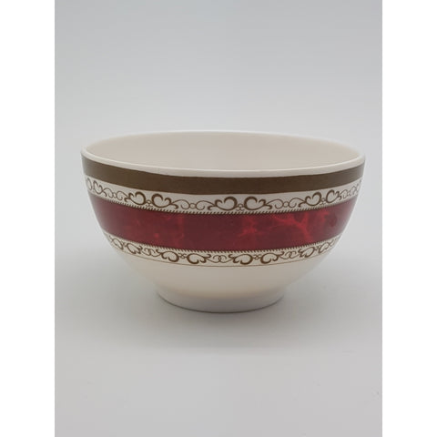 TB305R - White with Red Strip Plastic Bowl  ~ 5 inches - TBD Pieces  / 1 Box - New Eastland Pty Ltd - Asian food wholesalers
