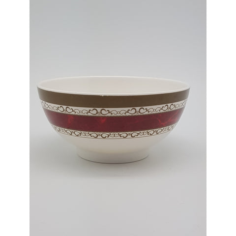 TB306R - White with Red Strip Plastic Bowl  ~ 6 inches - TBD Pieces  / 1 Box - New Eastland Pty Ltd - Asian food wholesalers