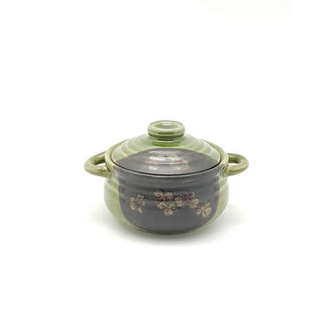 TBCG5 - Green and Charcoal with Flower Pot with Lid ~6.5 Inches - 2 pcs  / 1 Box - New Eastland Pty Ltd - Asian food wholesalers