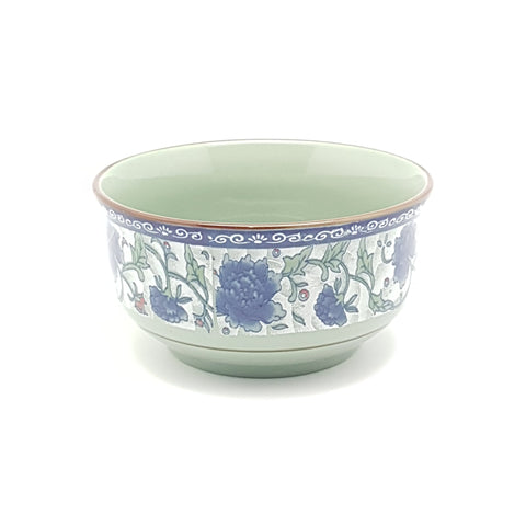 TBF04G - Dark Cyan/Blue Rose Ceramic Soup Bowl ~4.5 inches - 12 Pieces  / 1 Box - New Eastland Pty Ltd - Asian food wholesalers