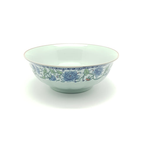 TBF07 - Dark Cyan/Blue Rose Ceramic Bowl ~7 inches - 6 Pieces  / 1 Box - New Eastland Pty Ltd - Asian food wholesalers