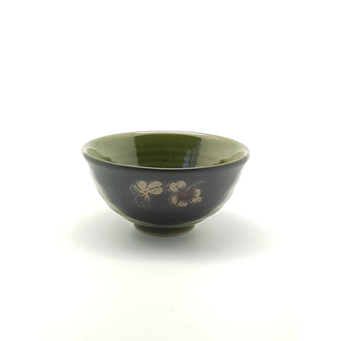 TBG03T - Green and Charcoal with flower Bowl ~3.5 Inches - 24 pcs  / 1 Box - New Eastland Pty Ltd - Asian food wholesalers