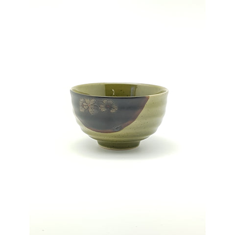 TBG045   - Green and Charcoal with Flower Bowl ~4.5 Inches - 12 pcs  / 1 Box - New Eastland Pty Ltd - Asian food wholesalers