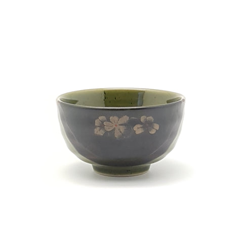 TBG04  - Green and Charcoal with flower Bowl ~4 Inches - 12 pcs  / 1 Box - New Eastland Pty Ltd - Asian food wholesalers