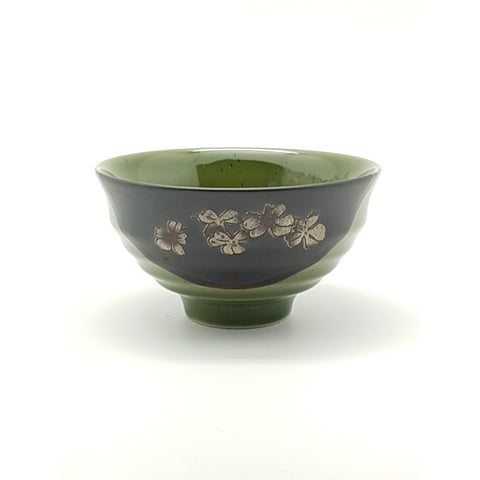 TBG05T - Green and Charcoal with Flower Bowl~5.5 Inches - 12 pcs  / 1 Box - New Eastland Pty Ltd - Asian food wholesalers