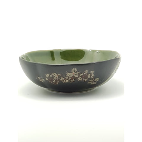 TBG07F - Green and Charcoal with Flower: Petal Shaped Plate~7 Inches - 6 pcs / 1 Box - New Eastland Pty Ltd - Asian food wholesalers