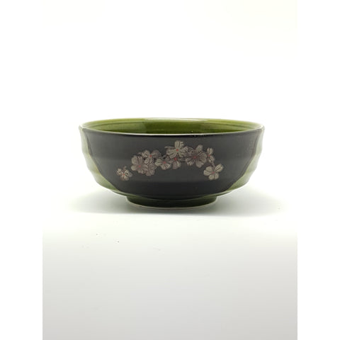 TBG08J  - Green and Charcoal with flower Bowl ~7.5 Inches - 6 pcs  / 1 Box - New Eastland Pty Ltd - Asian food wholesalers