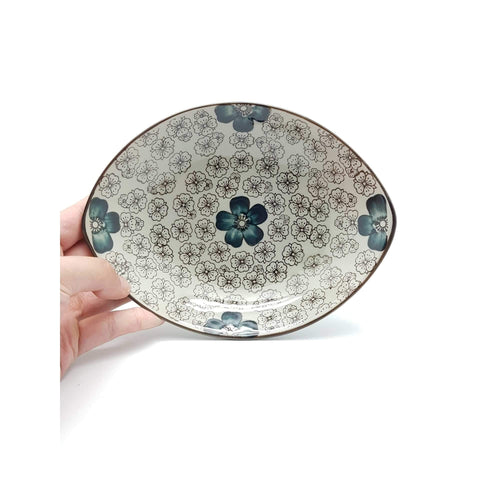 TBGCB006 - Green Ceramics with Blue Flower Plate - New Eastland Pty Ltd - Asian food wholesalers
