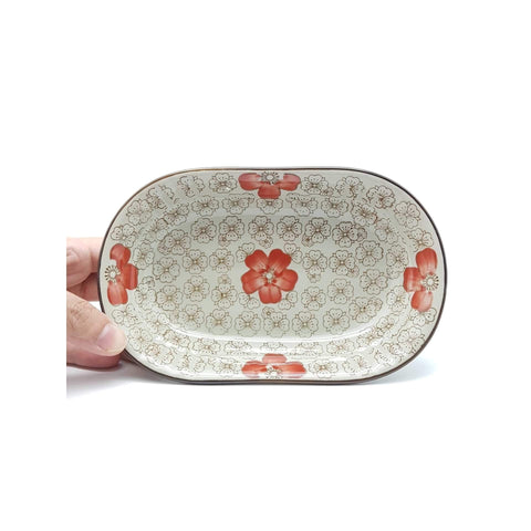 TBGCR005 - Green Ceramics with Red Flowers Plate/Bowl - New Eastland Pty Ltd - Asian food wholesalers