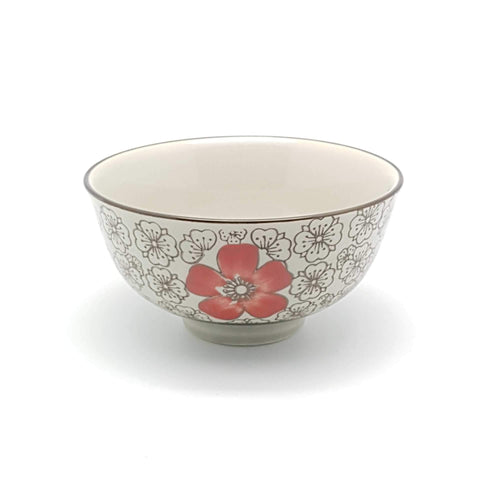 TBH04 - Green Ceramics with Red Flower Bowl - New Eastland Pty Ltd - Asian food wholesalers