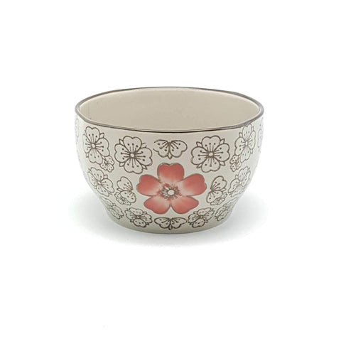 TBH04S - Green Ceramics with Red Flower Bowl - New Eastland Pty Ltd - Asian food wholesalers