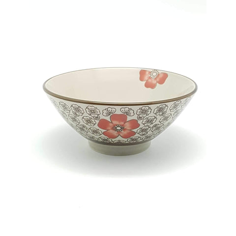 TBH05H - Green Ceramics with Red Flower Bowl - New Eastland Pty Ltd - Asian food wholesalers