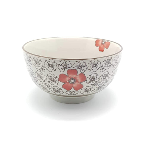 TBH06N/07N - Green Ceramics with Red Flower Bowl 6 - 7 Inches - New Eastland Pty Ltd - Asian food wholesalers