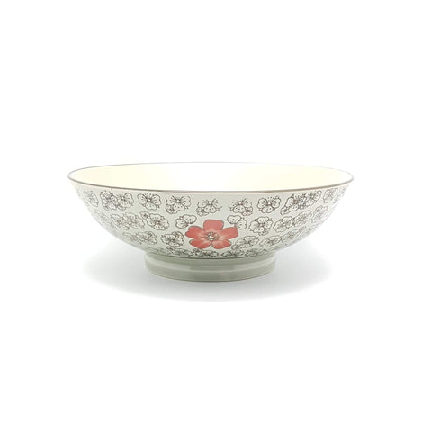 TBH07H/09H - Green Ceramics with Red Flowers Bowl 7 - 9 Inches - New Eastland Pty Ltd - Asian food wholesalers
