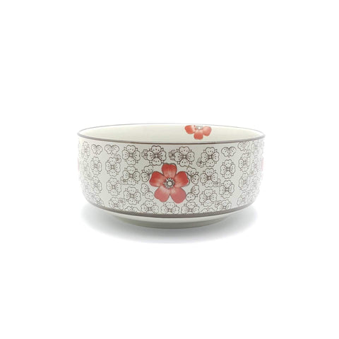 TBH08T - Green Ceramics with Red Flowers Bowl - New Eastland Pty Ltd - Asian food wholesalers