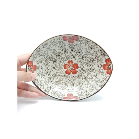 TBH08W- Green Ceramics with Red Flowers Plate - New Eastland Pty Ltd - Asian food wholesalers