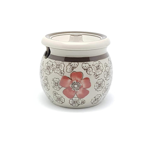 TBHS - Green Ceramics with Red Flower Sauce Pot - New Eastland Pty Ltd - Asian food wholesalers