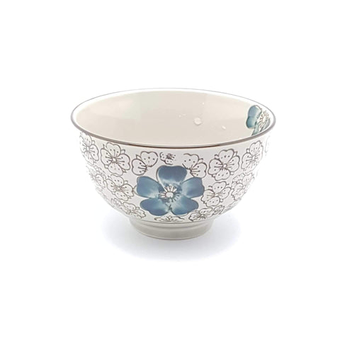 TBI04R - Green Ceramics with Blue Flowers Bowl - New Eastland Pty Ltd - Asian food wholesalers