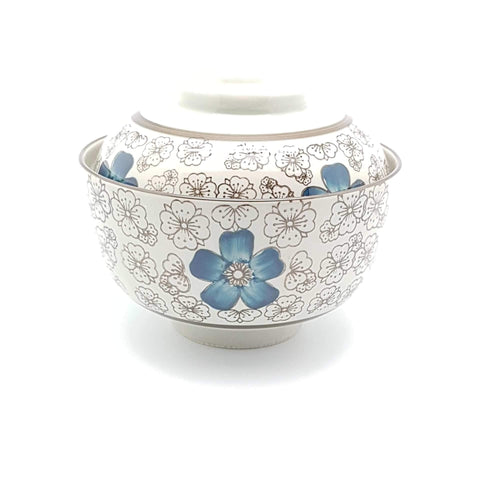 TBI05L - Green Ceramics with Blue Flower Bowl with lid - New Eastland Pty Ltd - Asian food wholesalers
