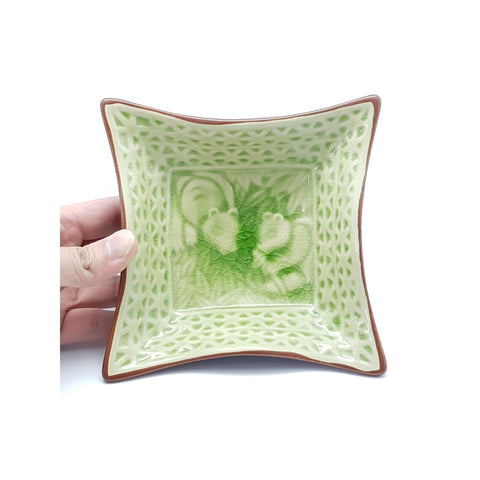 TPJS06-  Ceramic Green Leaf Textured Side Dish Plate ~ 5.5 INCHES - 6 pcs  / 1 Box - New Eastland Pty Ltd - Asian food wholesalers