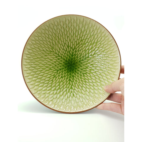 TBJ09 -  Ceramic Green Leaf Textured Bowl ~ 9 INCHES - 6 pcs  / 1 Box - New Eastland Pty Ltd - Asian food wholesalers