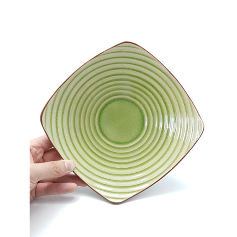 TBJC8/723 -  Ceramic Green Leaf Circle-textured Square Plate ~ 7.5 INCHES - 6 pcs  / 1 Box - New Eastland Pty Ltd - Asian food wholesalers