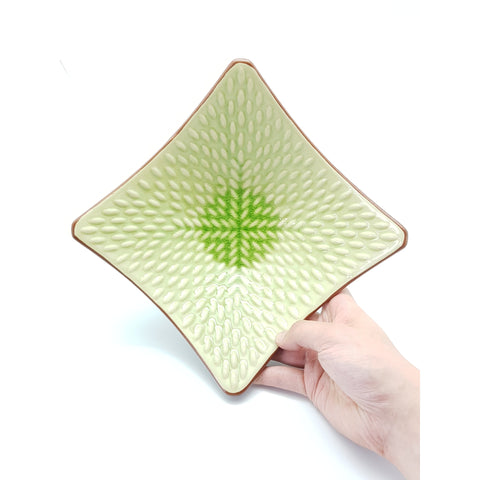 TBJC8/724 -  Ceramic Green Leaf Square Textured Plate ~8 INCHES - 6 pcs  / 1 Box - New Eastland Pty Ltd - Asian food wholesalers