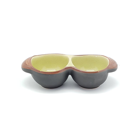 TBJD8-  Ceramic Green Leaf Twin Sauce Bowls- 12 pcs  / 1 Box - New Eastland Pty Ltd - Asian food wholesalers