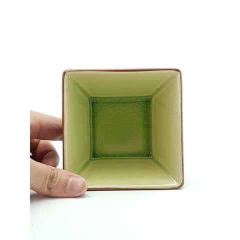 TBJQ4-  Ceramic Green Leaf Triangle Square Side Dish Bowl~ 4 INCHES - 12 pcs  / 1 Box - New Eastland Pty Ltd - Asian food wholesalers