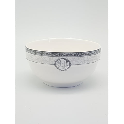 TBN04/05/06/07/08 - White Bamboo Ceramic Bowl with Rim 4.5 - 8 inches - New Eastland Pty Ltd - Asian food wholesalers