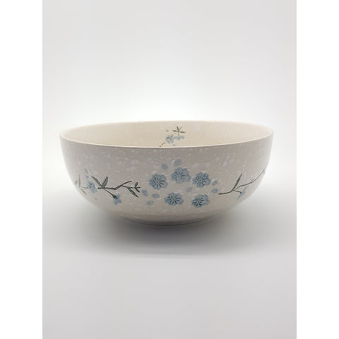 TBS08K -  White snow with Blue flowers Large Bowl ~8.5 Inches - 6 pcs  / 1 Box - New Eastland Pty Ltd - Asian food wholesalers