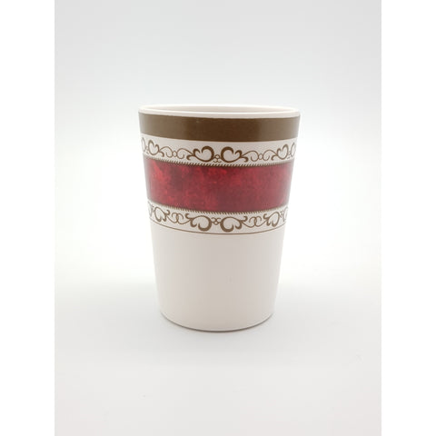 TC6033 - White with Red Strip Plastic Cup  ~ 3 inches - 12 Pieces  / 1 Box - New Eastland Pty Ltd - Asian food wholesalers