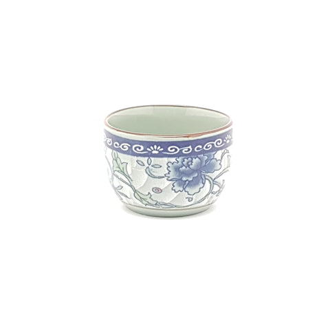 TCF02 - Dark Cyan/Blue Rose Ceramic Tea Cup - 12 Pieces  / 1 Box - New Eastland Pty Ltd - Asian food wholesalers