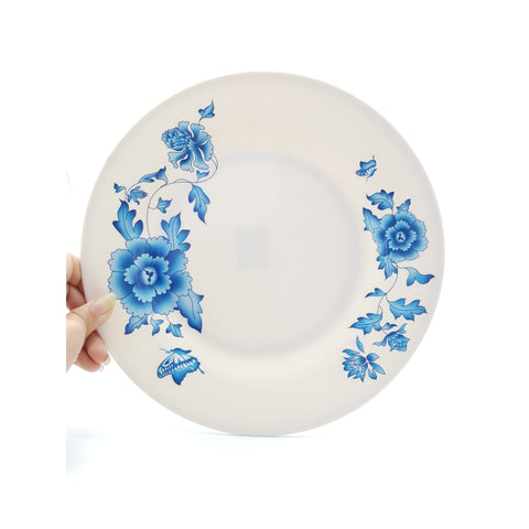 TP2010 - Simple Blue Flower Plastic Round Flat Plate ~10 inches - 6 Pieces / 1 Box - New Eastland Pty Ltd - Asian food wholesalers
