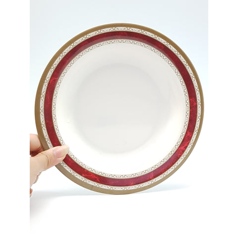 TP2099 - White with Red Strip Plastic Dish Plate  ~ 8 inches - 6 Pieces  / 1 Box - New Eastland Pty Ltd - Asian food wholesalers