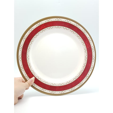 TP2211 - White with Red Strip Plastic Round Plate  ~ 11 inches - 6 Pieces  / 1 Box - New Eastland Pty Ltd - Asian food wholesalers