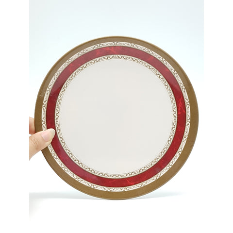TP2237 - White with Red Strip Plastic Round Plate  ~ 7 inches - 6 Pieces  / 1 Box - New Eastland Pty Ltd - Asian food wholesalers