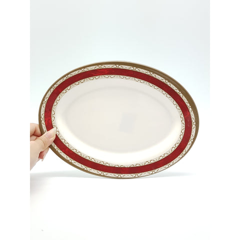 TP2310 - White with Red Strip Plastic Oval Plate  ~ 10 inches - 6 Pieces  / 1 Box - New Eastland Pty Ltd - Asian food wholesalers