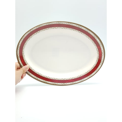 TP2312 - White with Red Strip Plastic Oval Plate  ~ 12 inches - 6 Pieces  / 1 Box - New Eastland Pty Ltd - Asian food wholesalers