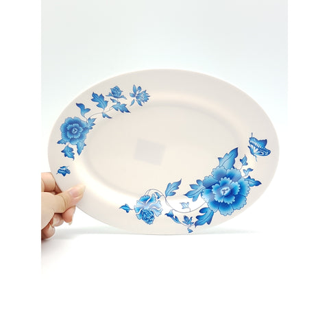 TP3010 - Simple Blue Flower Plastic Oval Plate ~10 inches - 6 Pieces / 1 Box - New Eastland Pty Ltd - Asian food wholesalers