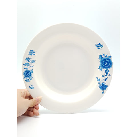 TP3014 - Simple Blue Flower Plastic Round Flat Plate ~14 inches - 6 Pieces / 1 Box - New Eastland Pty Ltd - Asian food wholesalers