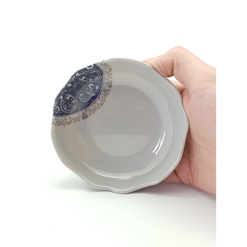 TP3523 - Grey & Blue Scalloped Sauce Plate ~ 4.5 Inches - 40 Pieces  / 1 Box - New Eastland Pty Ltd - Asian food wholesalers
